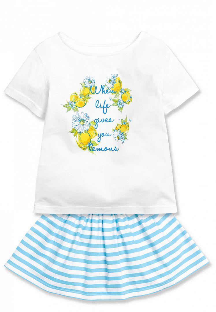 Хлопковый комплект для девочки 1 года белого цвета