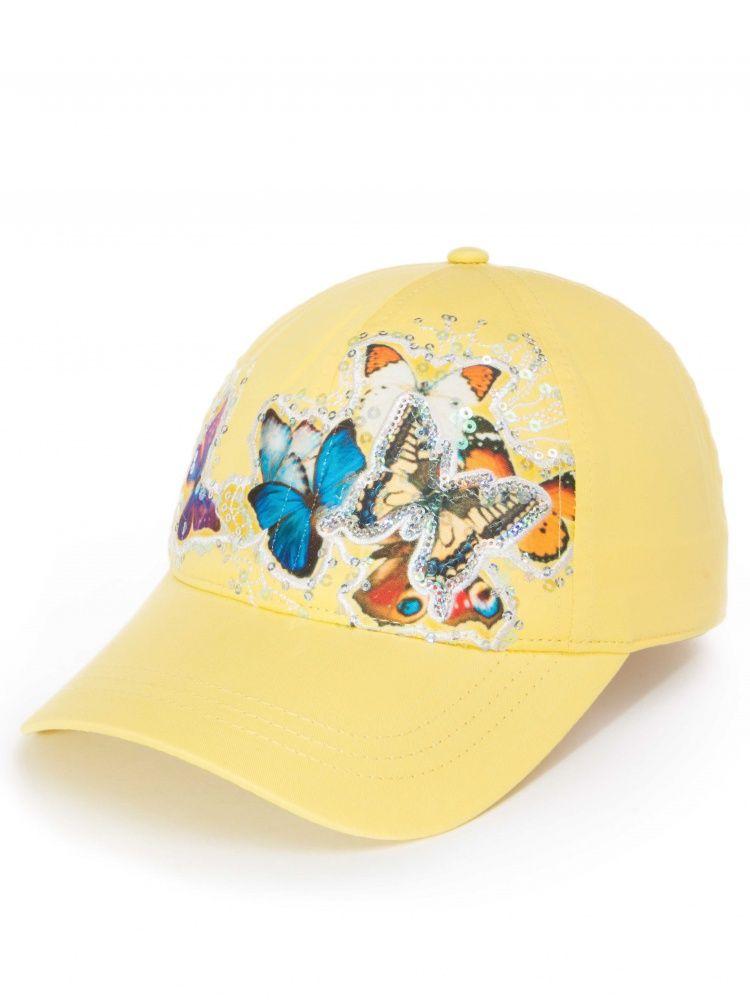 Желтая бейсболка для девочки на размер 55-56