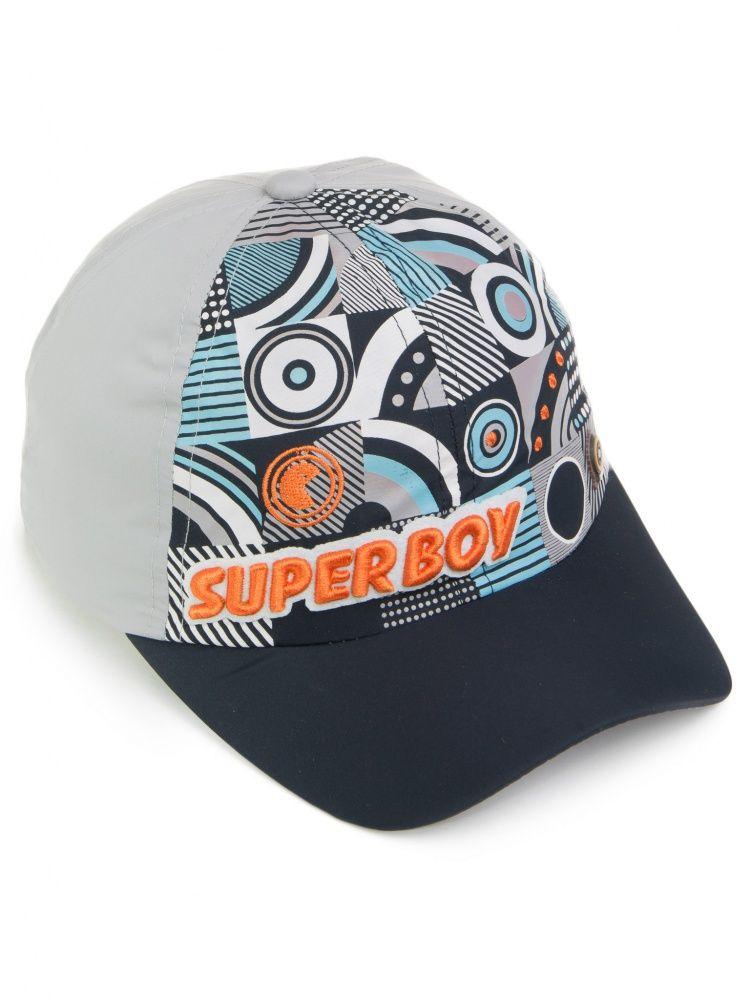 Бейсболка Super Boy для мальчика светло-серого цвета на размер 52-54