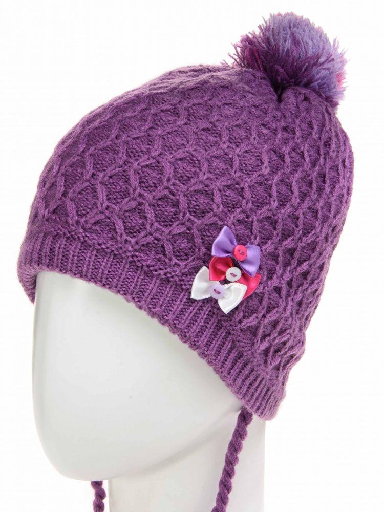 Фиолетовая шапка для девочки на размер 48-52