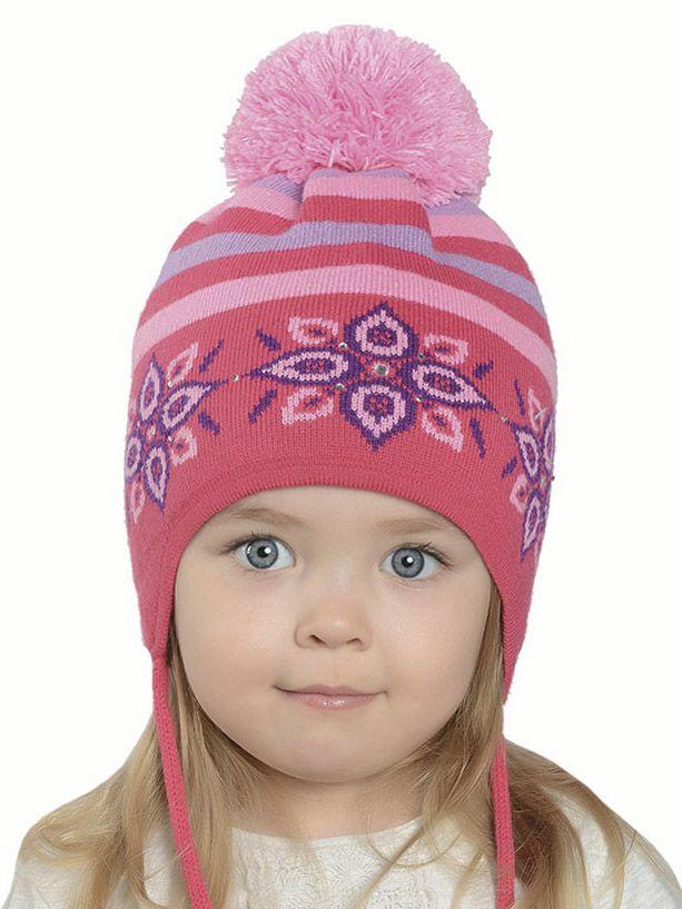 Розовая шапка для девочки на зиму