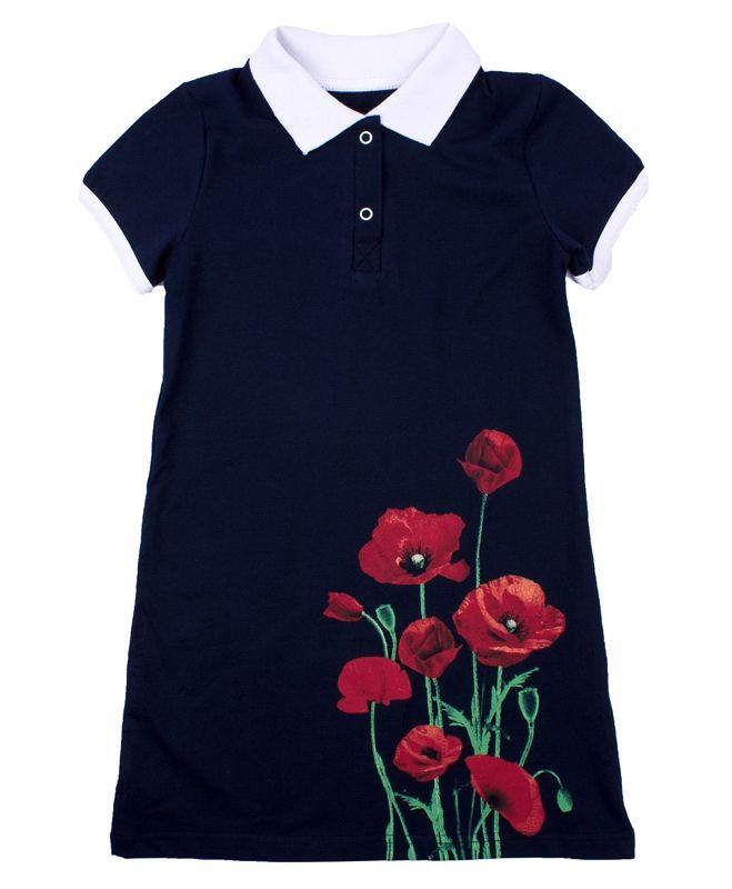 Платье для девочки темно-синего цвета