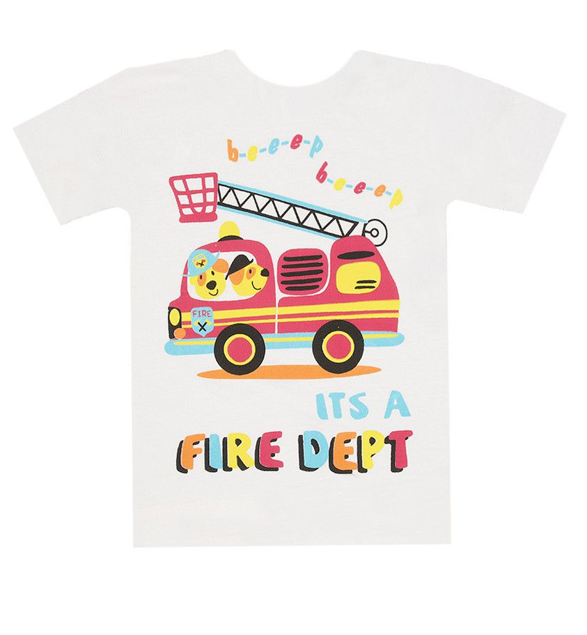 Белая футболка Пожарная машина