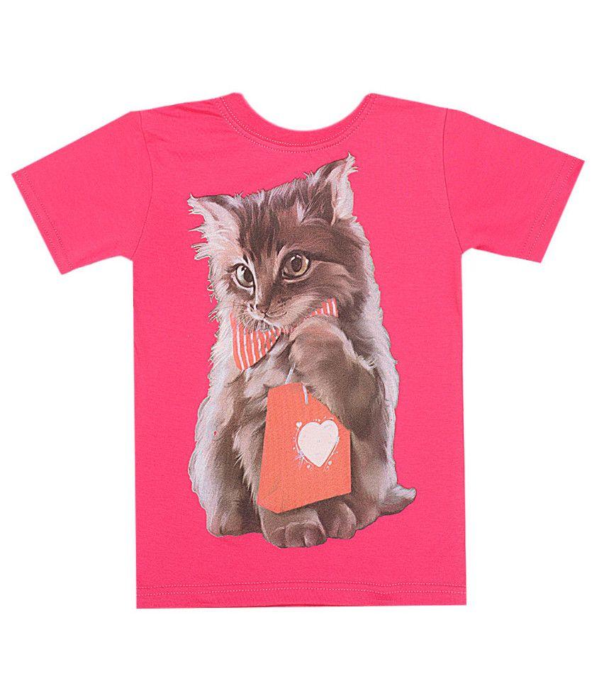 Розовая футболка Котенок для девочки
