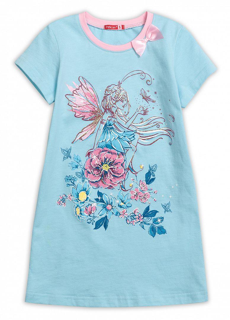 Ночная сорочка для девочки голубого цвета