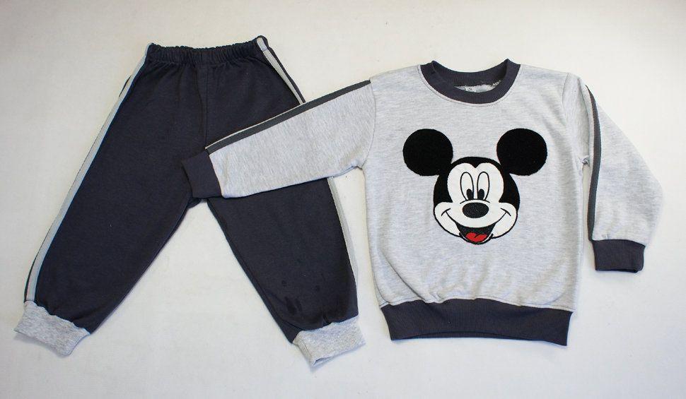 """Спортивный комплект """"Мики маус"""" для мальчика (серый меланж/серый)"""