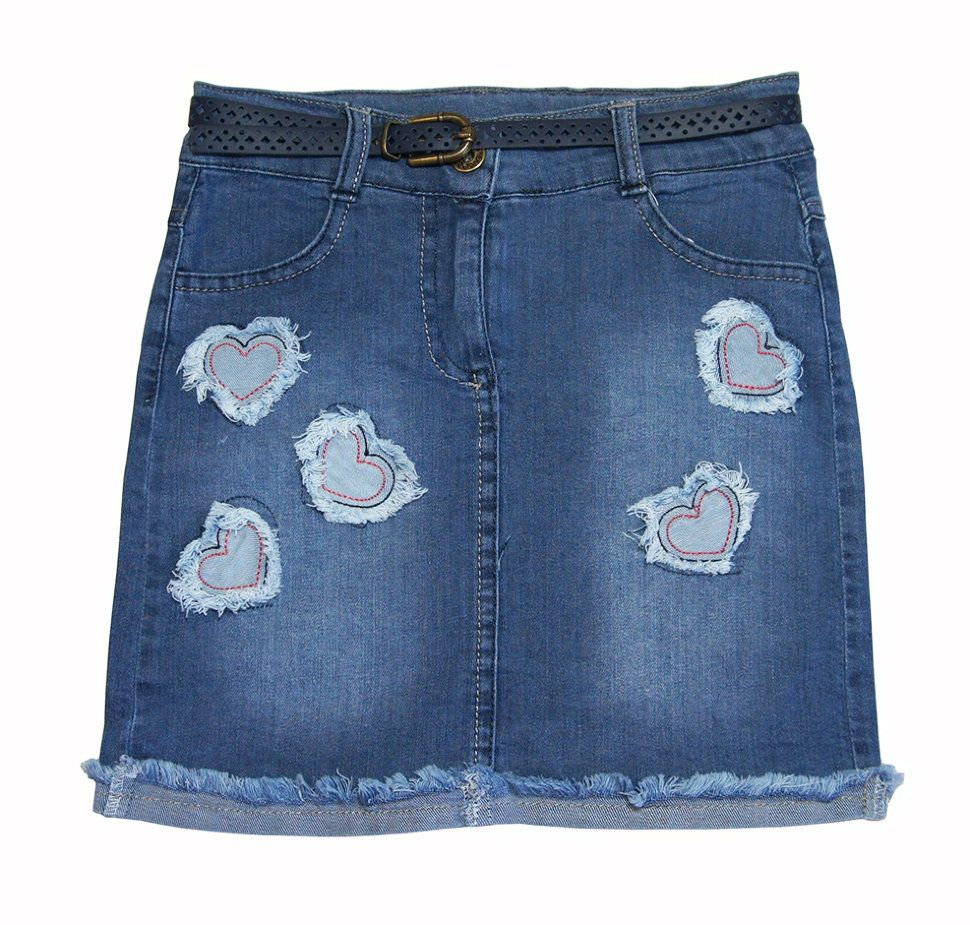 Юбка джинсовая с нашивками в виде сердечек