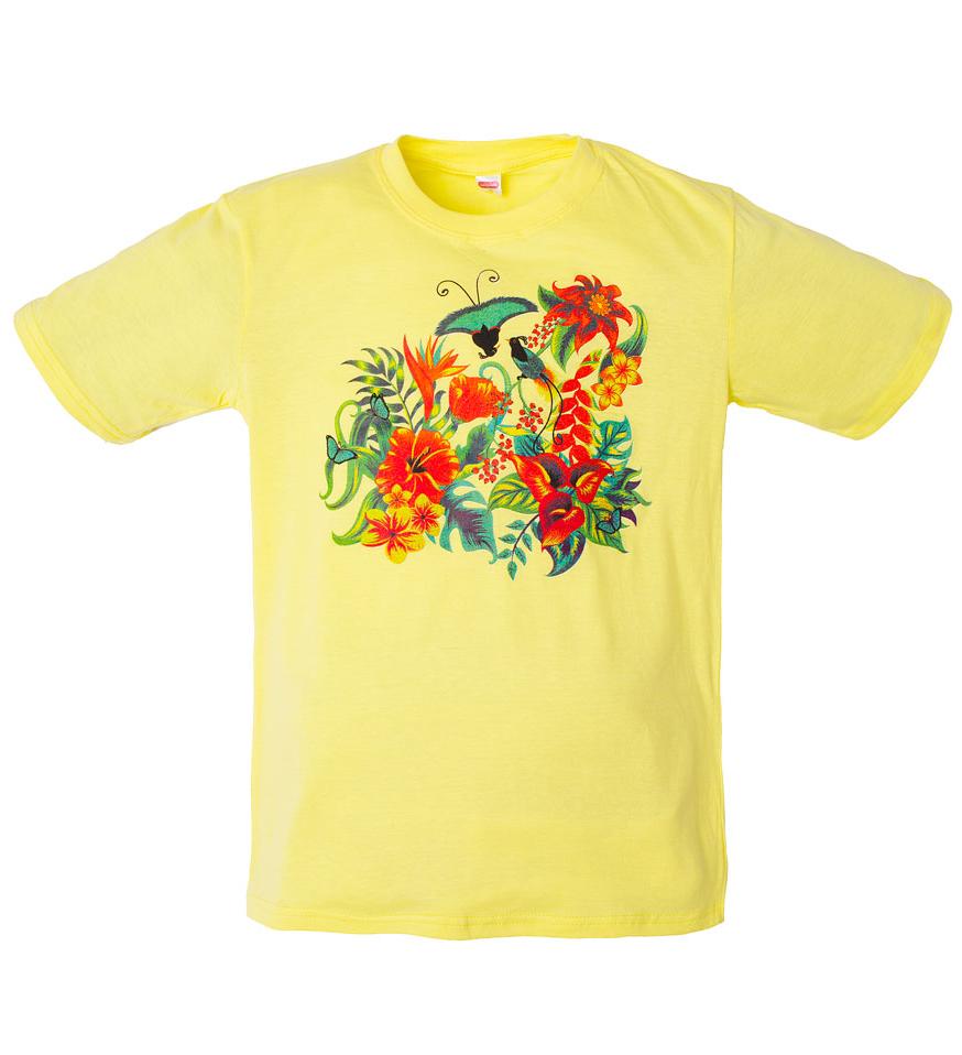 Желтая футболка для девочки Цветы